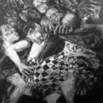 'Humiliation of the Fool' Compressed charcoal on gesso plywood, 5ft x 4ft.